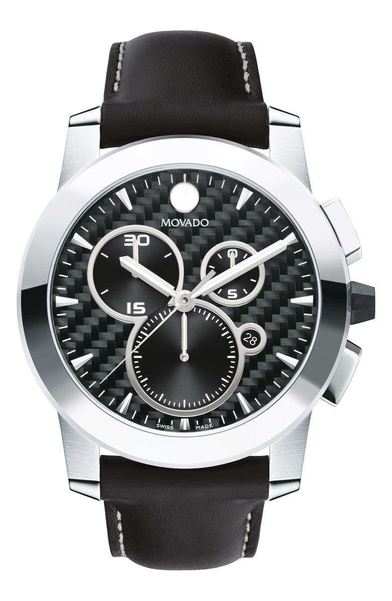 MOVADO Vizio Chronograph Leather Strap Watch, 44mm, Main, color, BLACK/ GREY/ SILVER