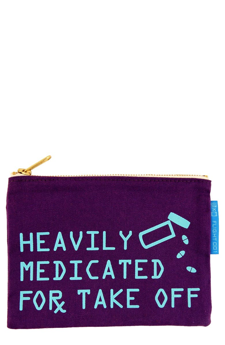 FLIGHT 001 'Heavily Medicated' Travel Pouch, Main, color, 500