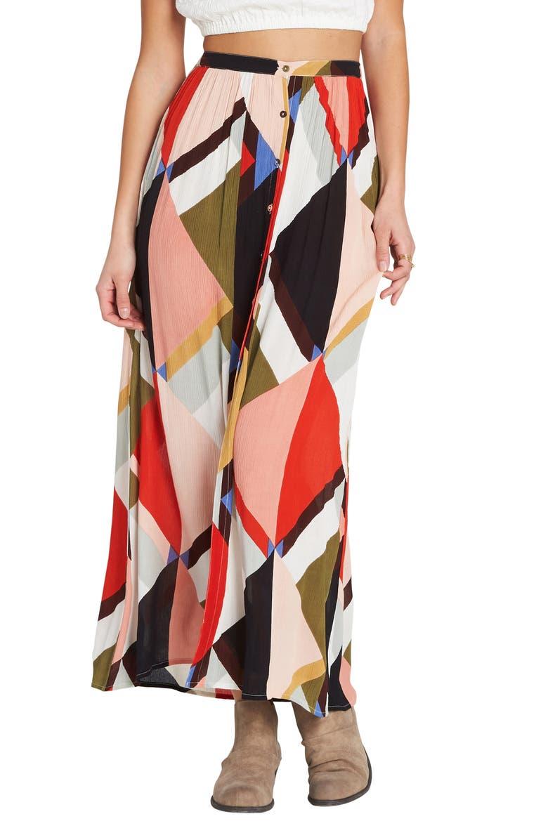 BILLABONG Honey Money Maxi Skirt, Main, color, MULTI
