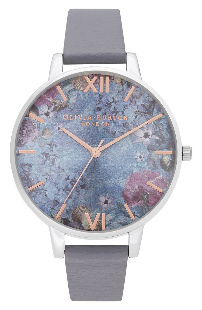 OLIVIA BURTON Under the Sea Faux Leather Strap Watch, 38mm, Main, color, DEEP SEA BLUE / FLORAL/ SILVER