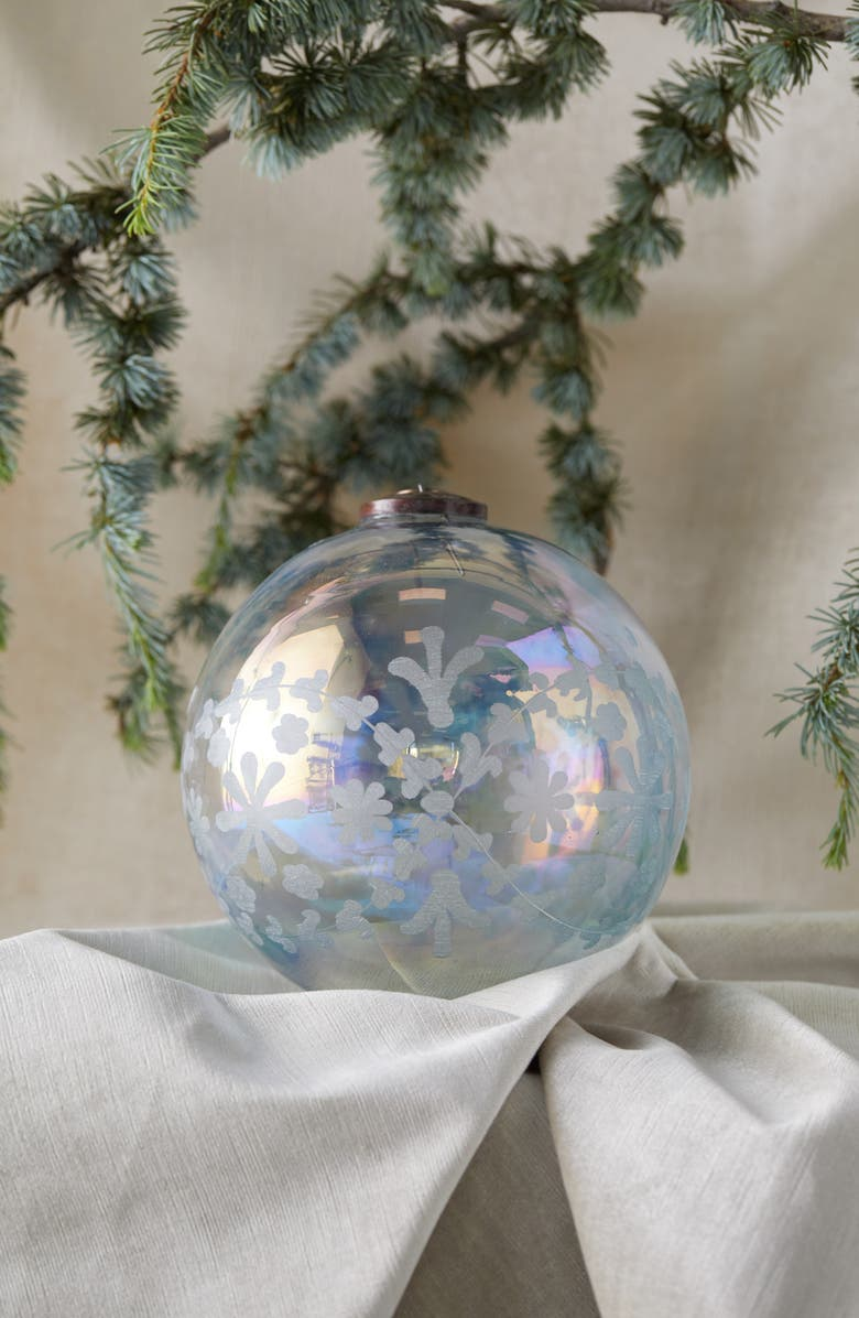TERRAIN Snowflake Etched Glass Globe Ornament, Main, color, 100