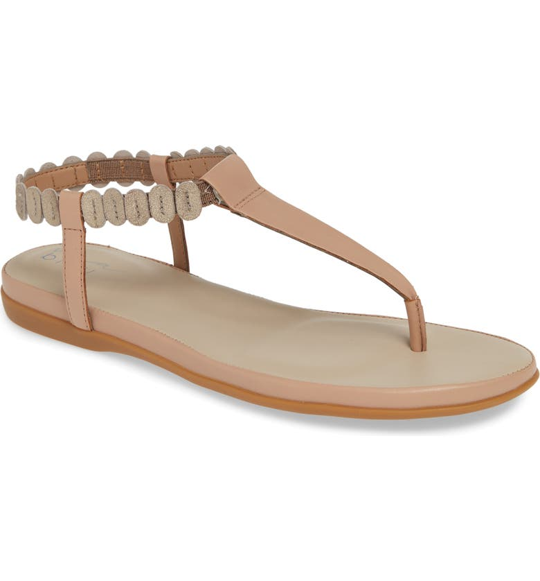 VIA BLEU Ann V-Strap Sandal, Main, color, SUNKISSED/ TAUPE LEATHER
