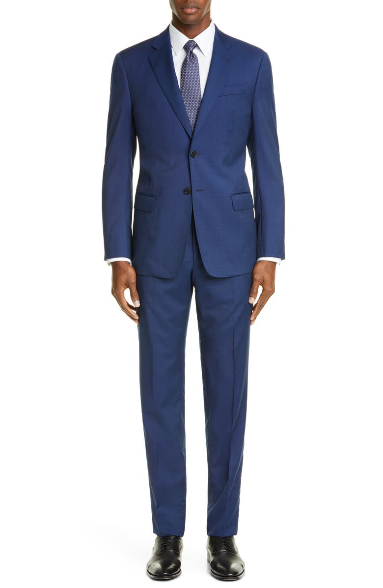 EMPORIO ARMANI Trim Fit Solid Wool Suit, Main, color, BLUE