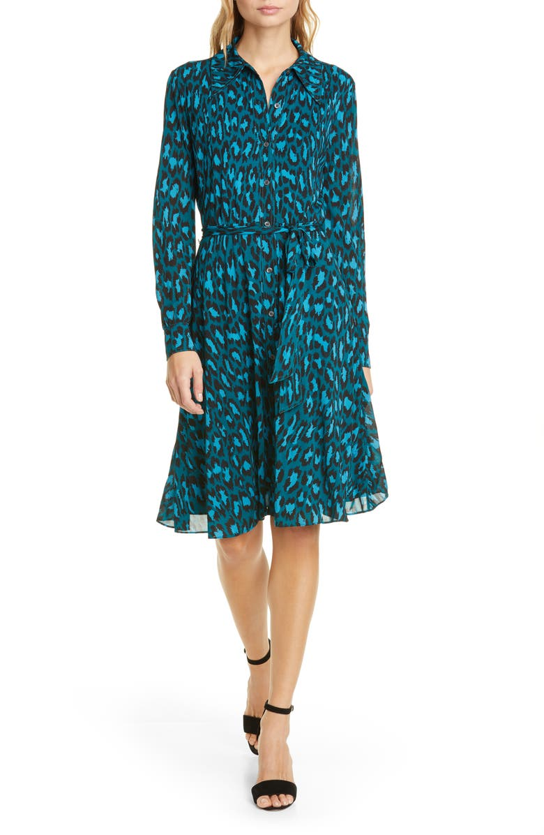 DVF Dory Leopard Long Sleeve Shirtdress, Main, color, NATURAL LEOPARD EVERGREEN