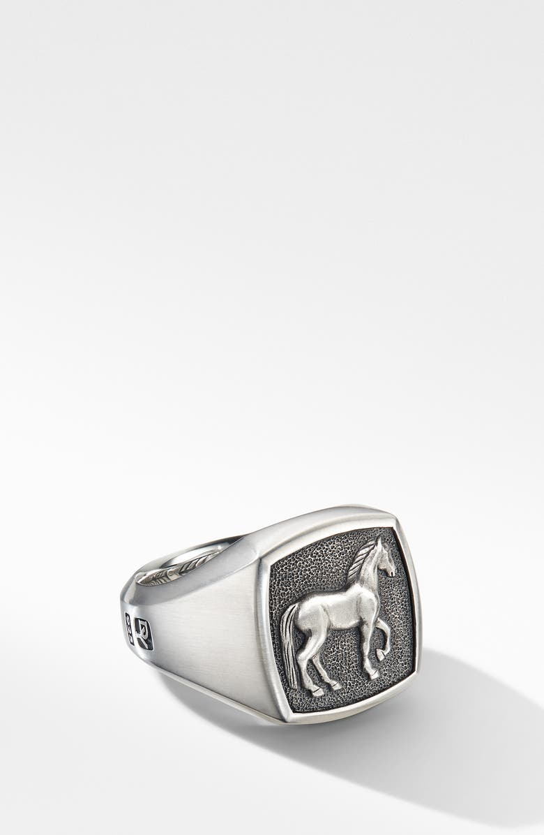 DAVID YURMAN Petrvs<sup>®</sup> Horse Signet Ring, Main, color, SILVER