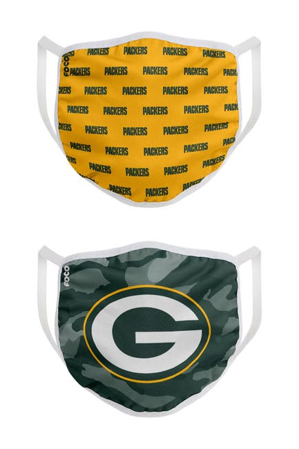 Image of FOCO NFL Green Bay Packers Clutch Printed Face Cover - Pack of 2