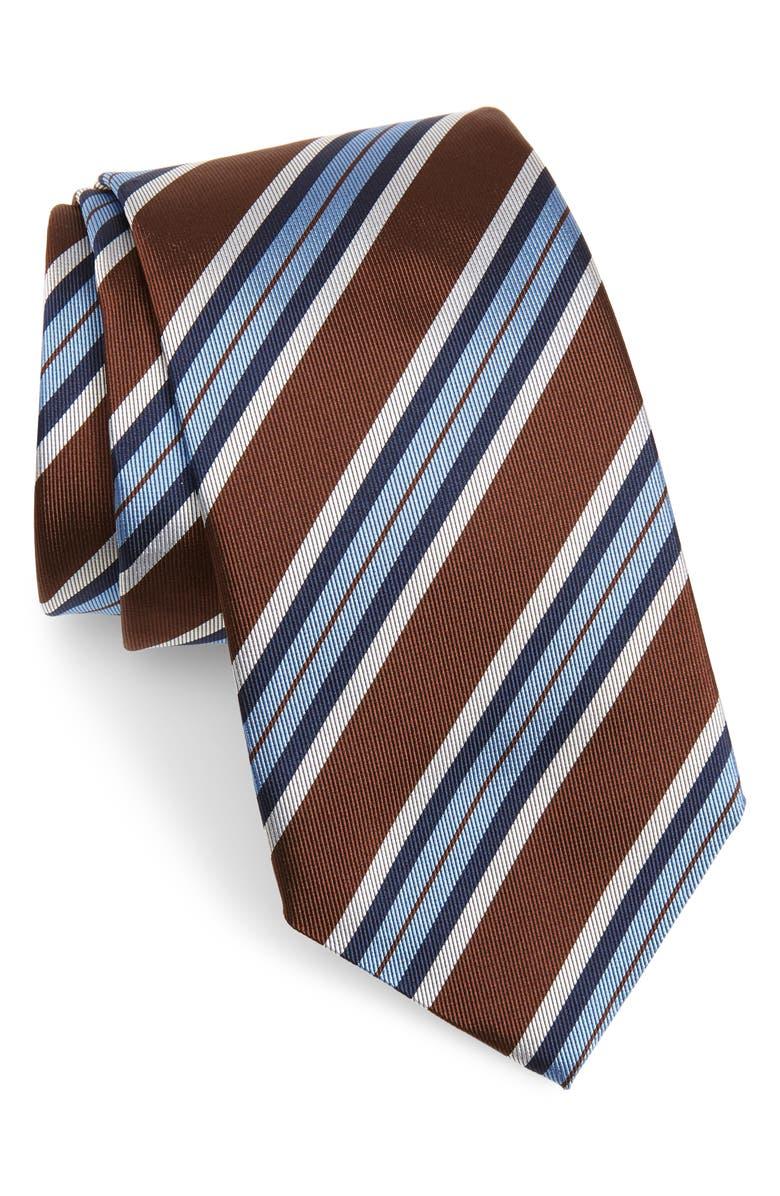 DAVID DONAHUE Stripe Silk Tie, Main, color, CHOCOLATE