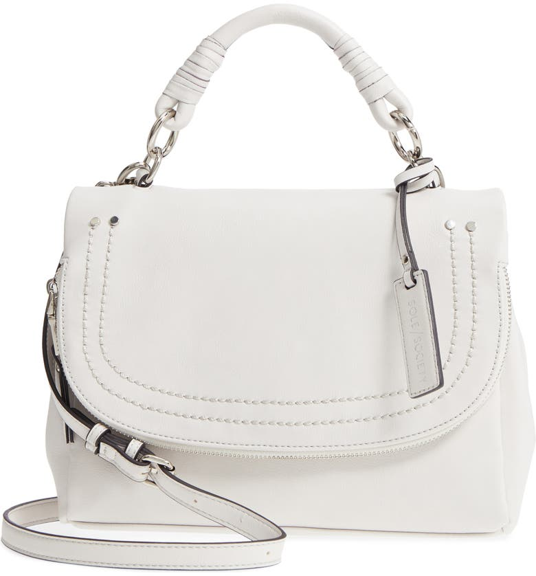 SOLE SOCIETY Top Handle Faux Leather Crossbody Bag, Main, color, 101