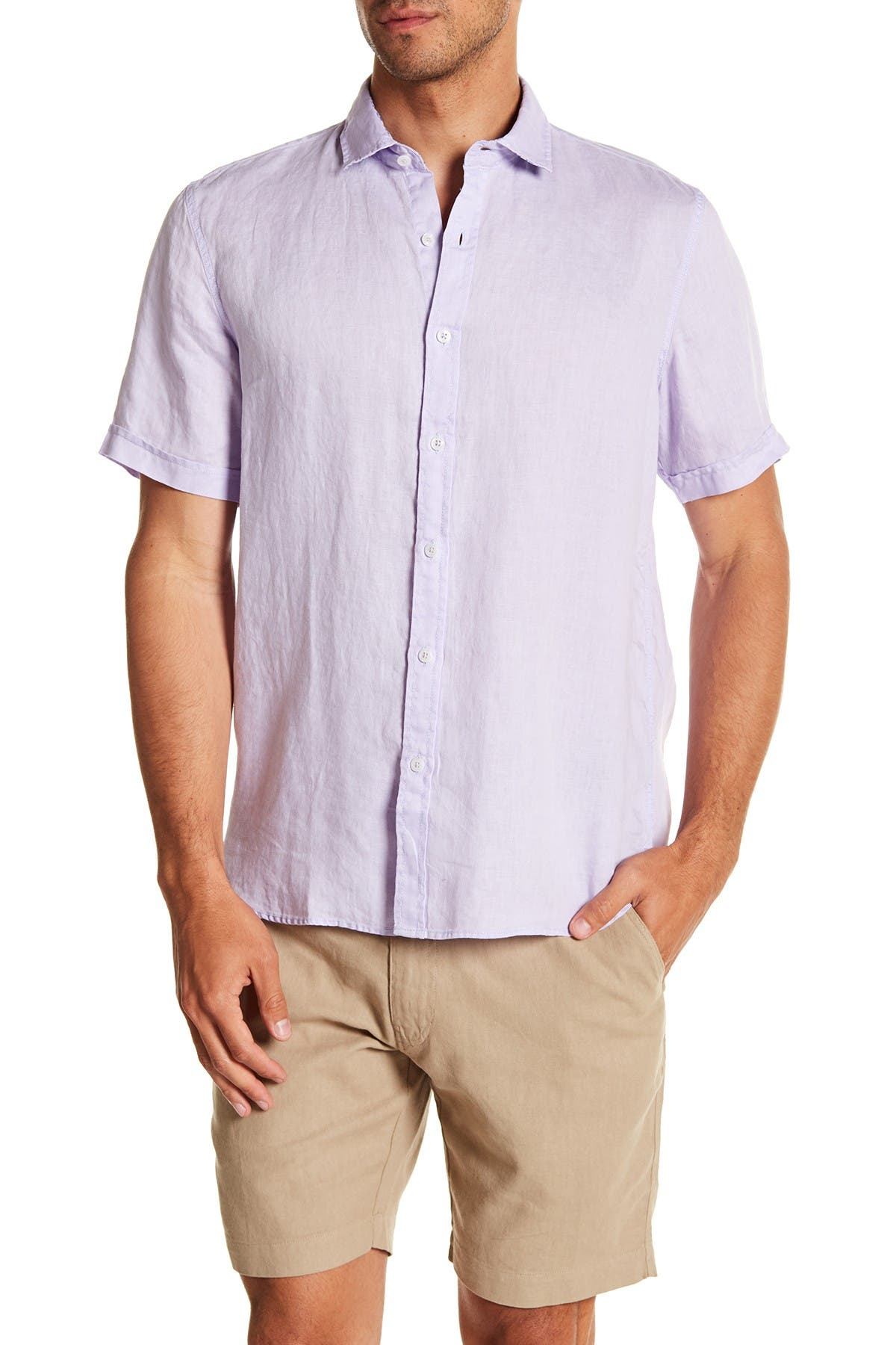 Image of Toscano Short Sleeve Solid Woven Shirt