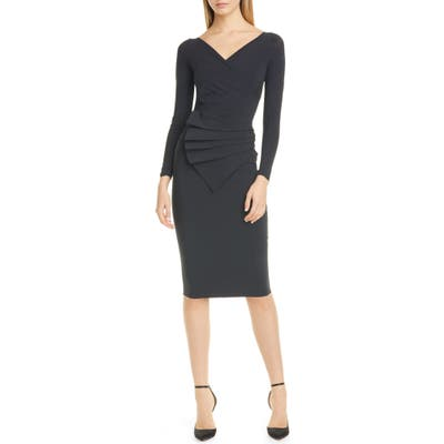Chiara Boni La Petite Robe Kaya Long Sleeve Ruffle Cocktail Dress, US / 48 IT - Black
