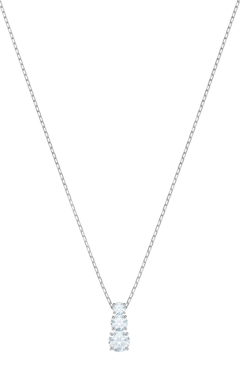 SWAROVSKI Attract Trilogy Pendant Necklace, Main, color, CLEAR/ SILVER