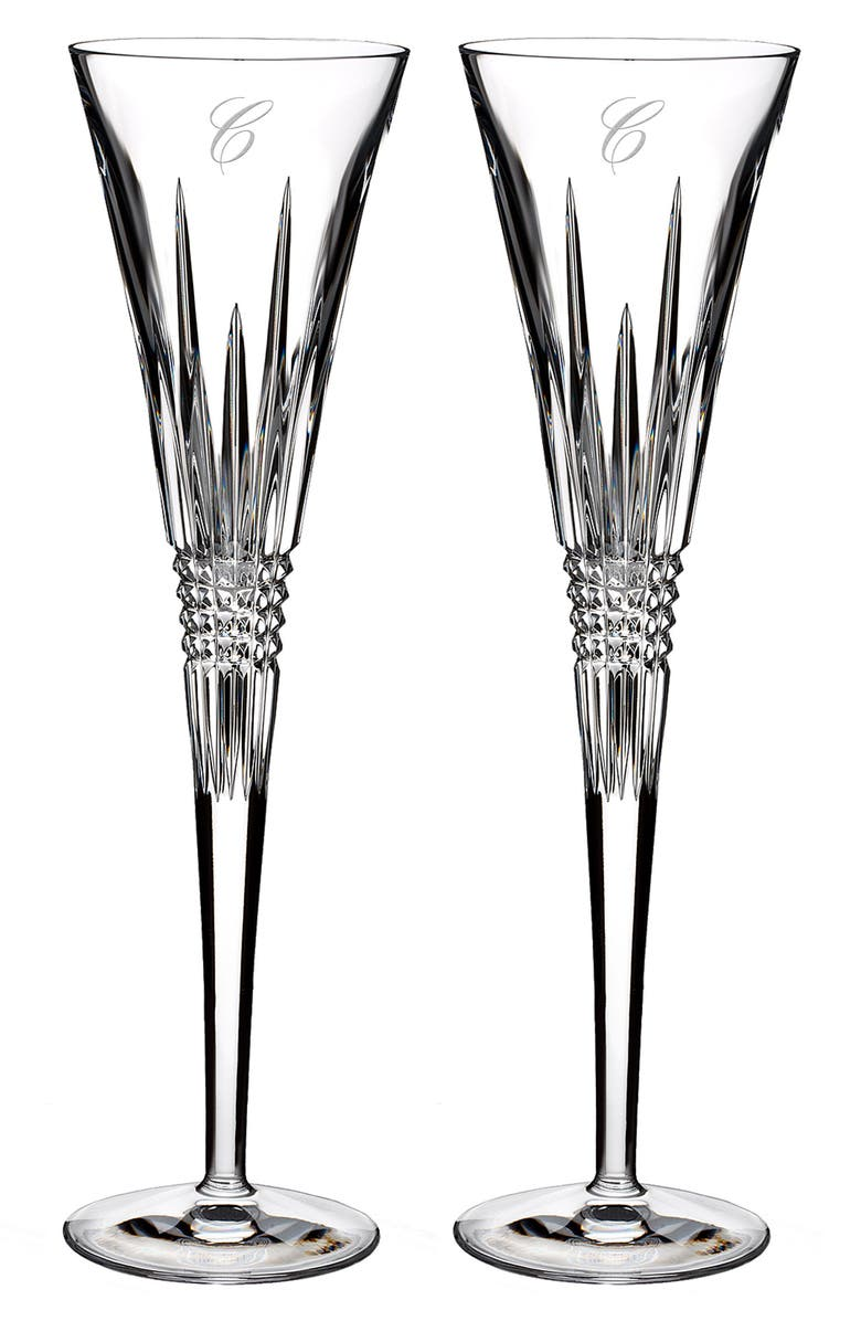 WATERFORD Lismore Diamond Set of 2 Monogram Lead Crystal Champagne Flutes, Main, color, CLEAR - C