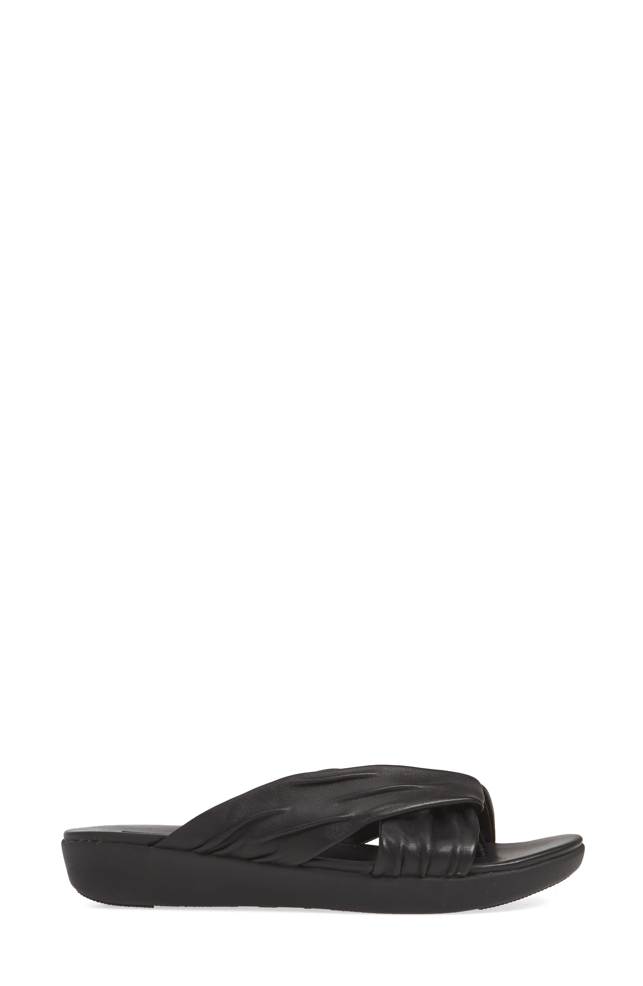,                             Twine Slide Sandal,                             Alternate thumbnail 3, color,                             BLACK LEATHER