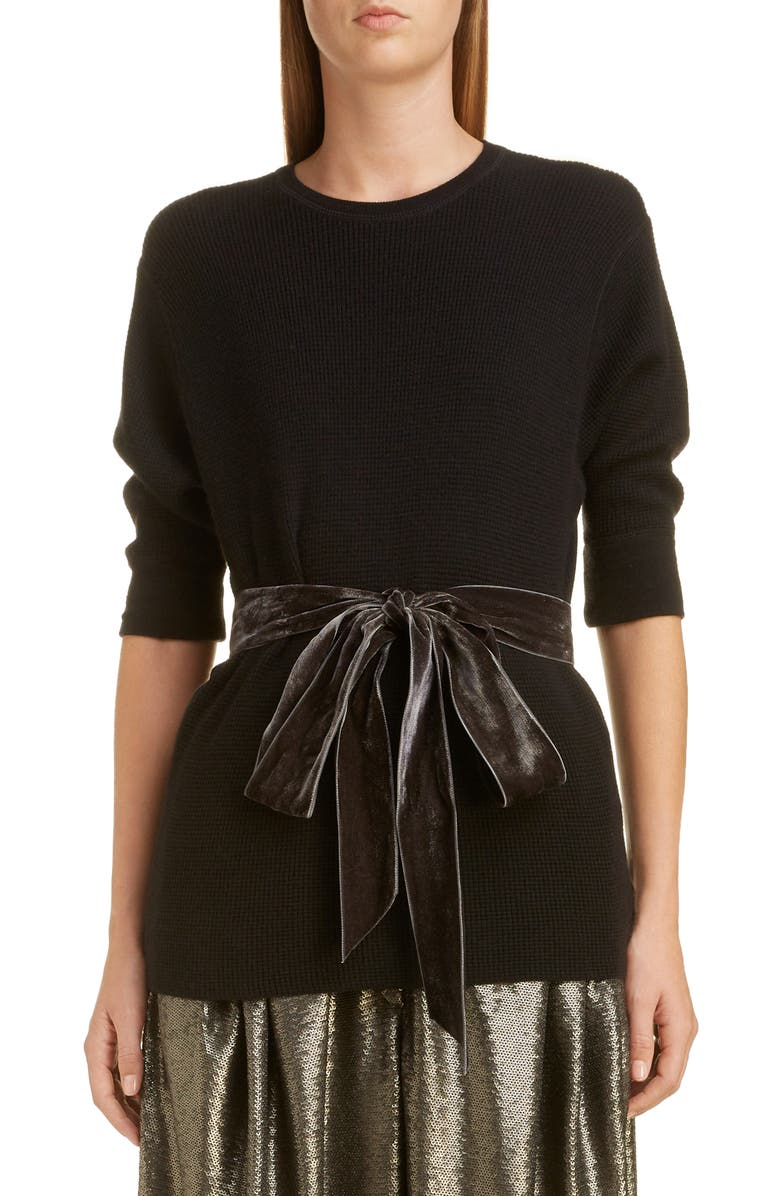 MARC JACOBS Bow Detail Thermal Sweater, Main, color, 001