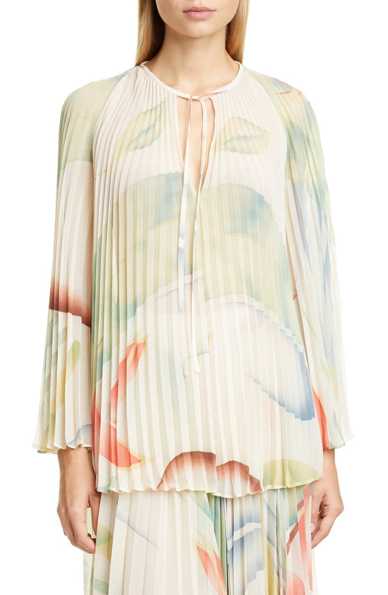 ETRO Watercolor Leaf Print Pleated Blouse, Main, color, WHITE