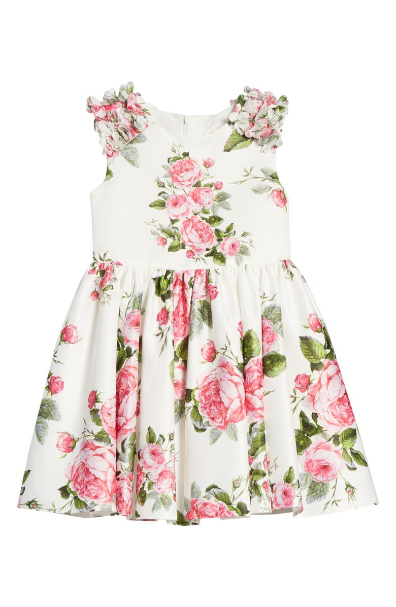 DAVID CHARLES Flower Print Fit & Flare Dress, Main, color, L - IVORY