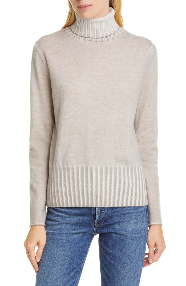 ALLUDE Cashmere Turtleneck Sweater, Main, color, TAUPE