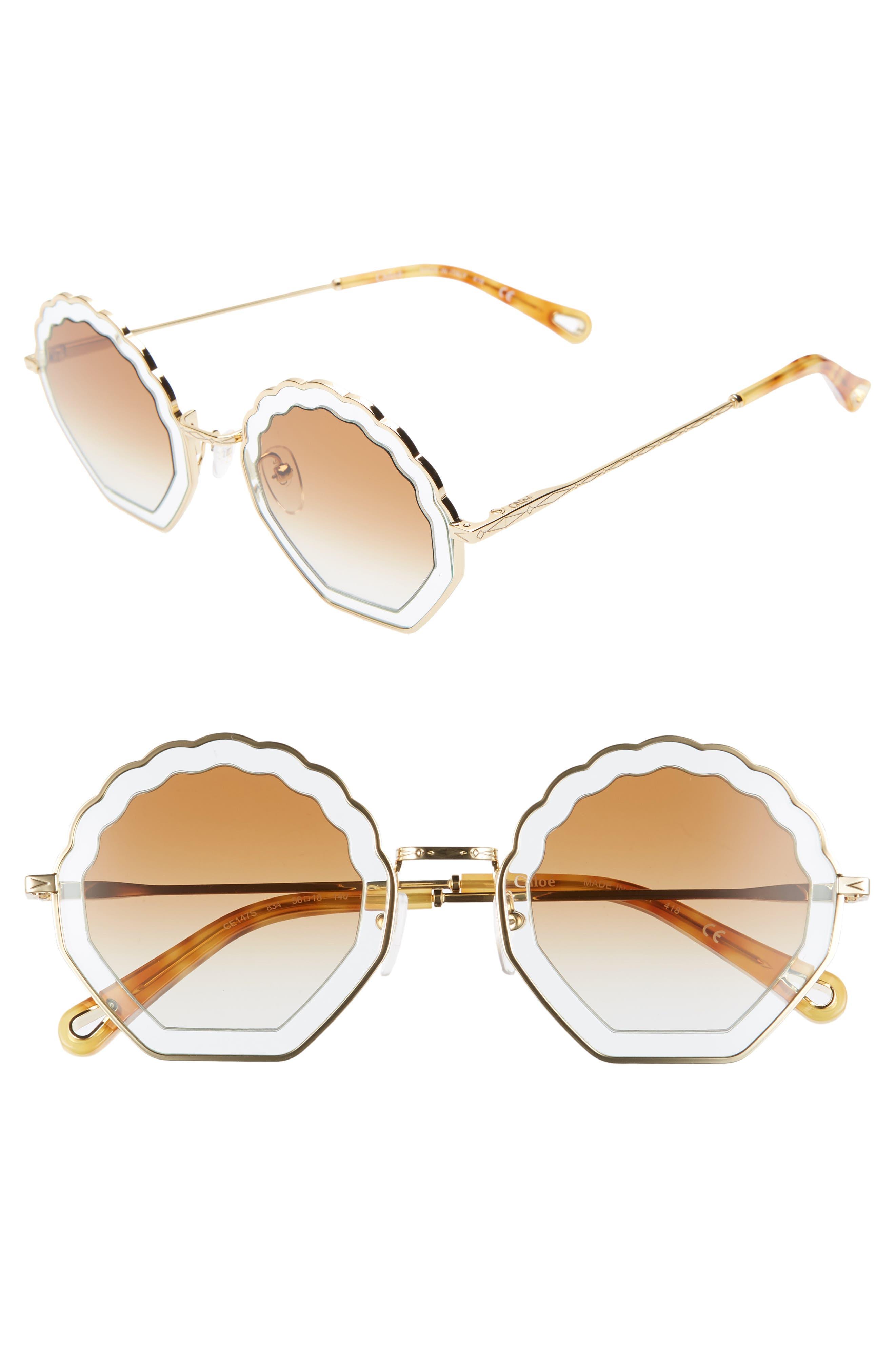 Chloe Tally 5m Scalloped Sunglasses - Gold/ Azure/ Gradient Burnt