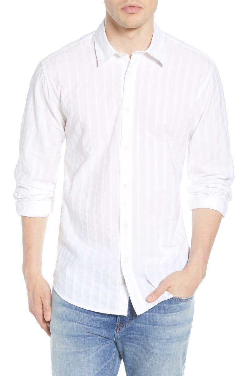 COASTAORO Blancher Regular Fit Tonal Stripe Button-Up Shirt, Main, color, WHITE