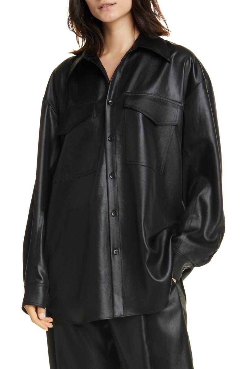 TIBI Celia Origami Sleeve Satin Shirt, Main, color, BLACK