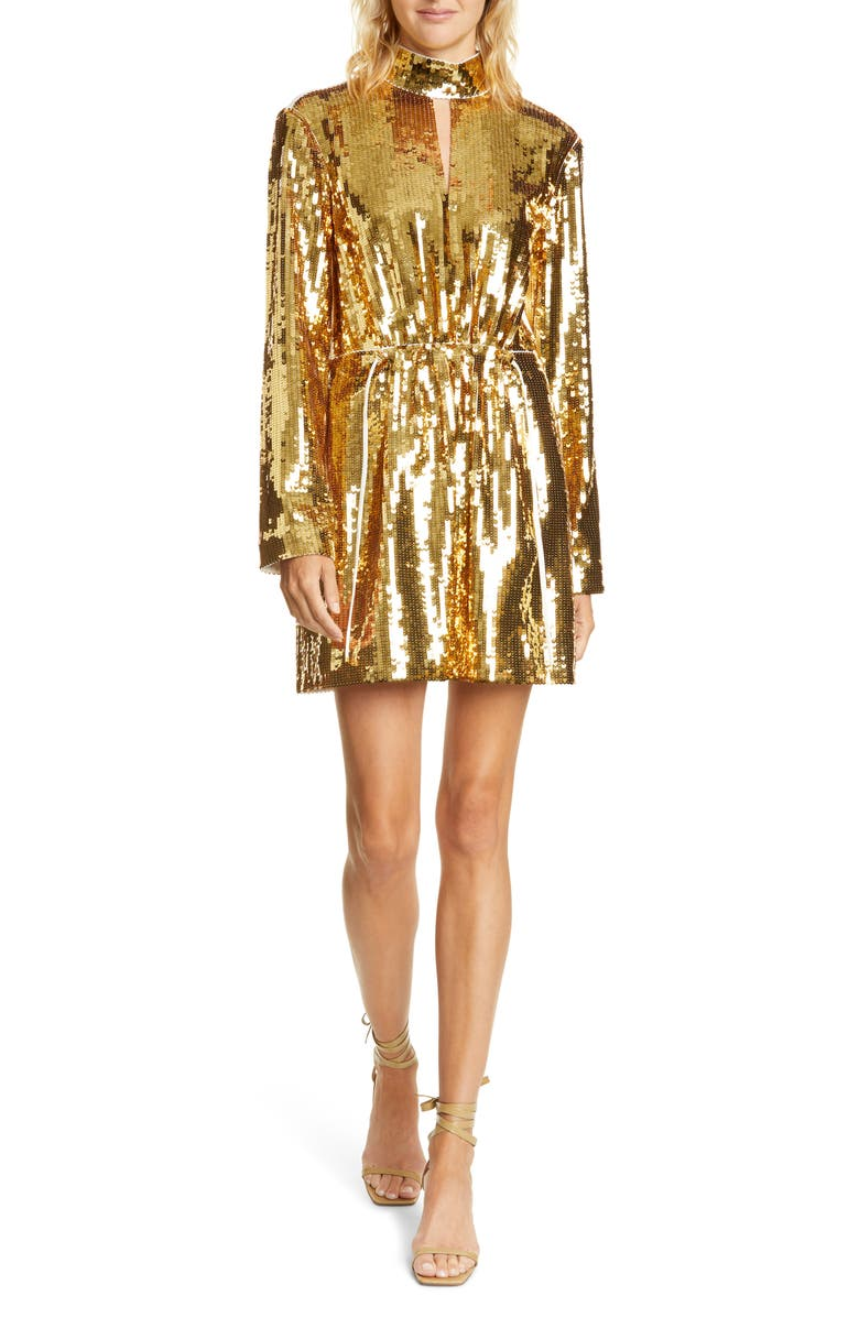 TIBI Avril Contrast Back Sequin Long Sleeve Minidress, Main, color, IVORY/ GOLD MULTI