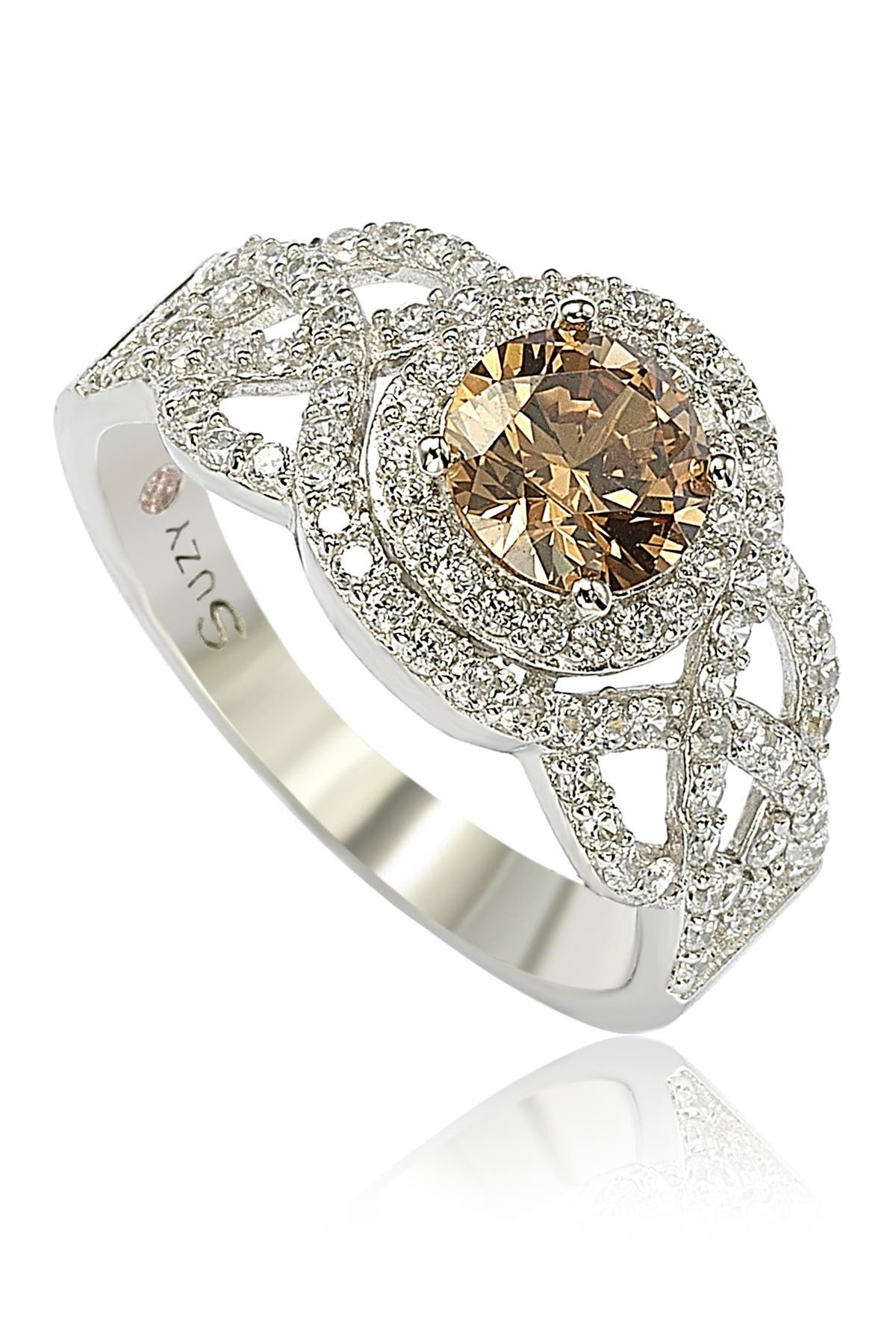 Suzy Levian Sterling Silver Brown CZ Bridal Ring at Nordstrom Rack