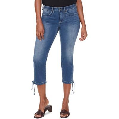 Petite Nydj High Waist Drawcord Hem Capri Jeans, Blue