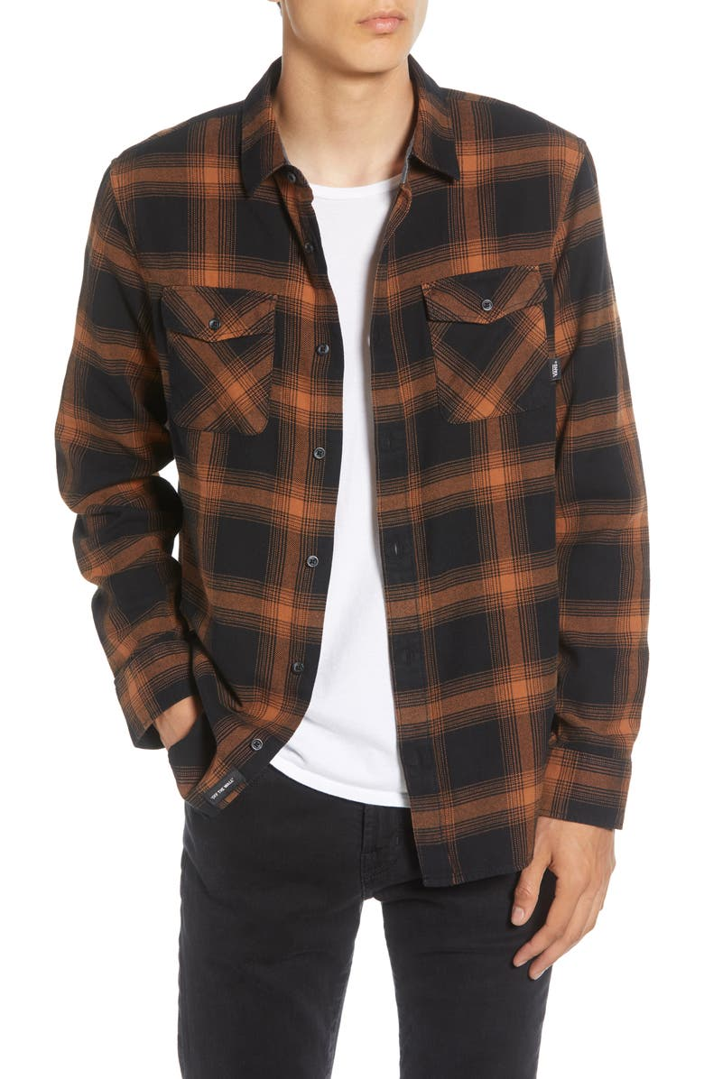 VANS Monterey III Classic Fit Plaid Button-Up Flannel Shirt, Main, color, BLACK/ ARGAN OIL