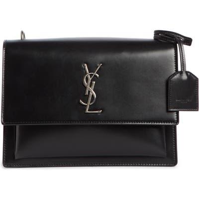 Saint Laurent Medium Sunset Calfskin Shoulder Bag With Braided Strap -