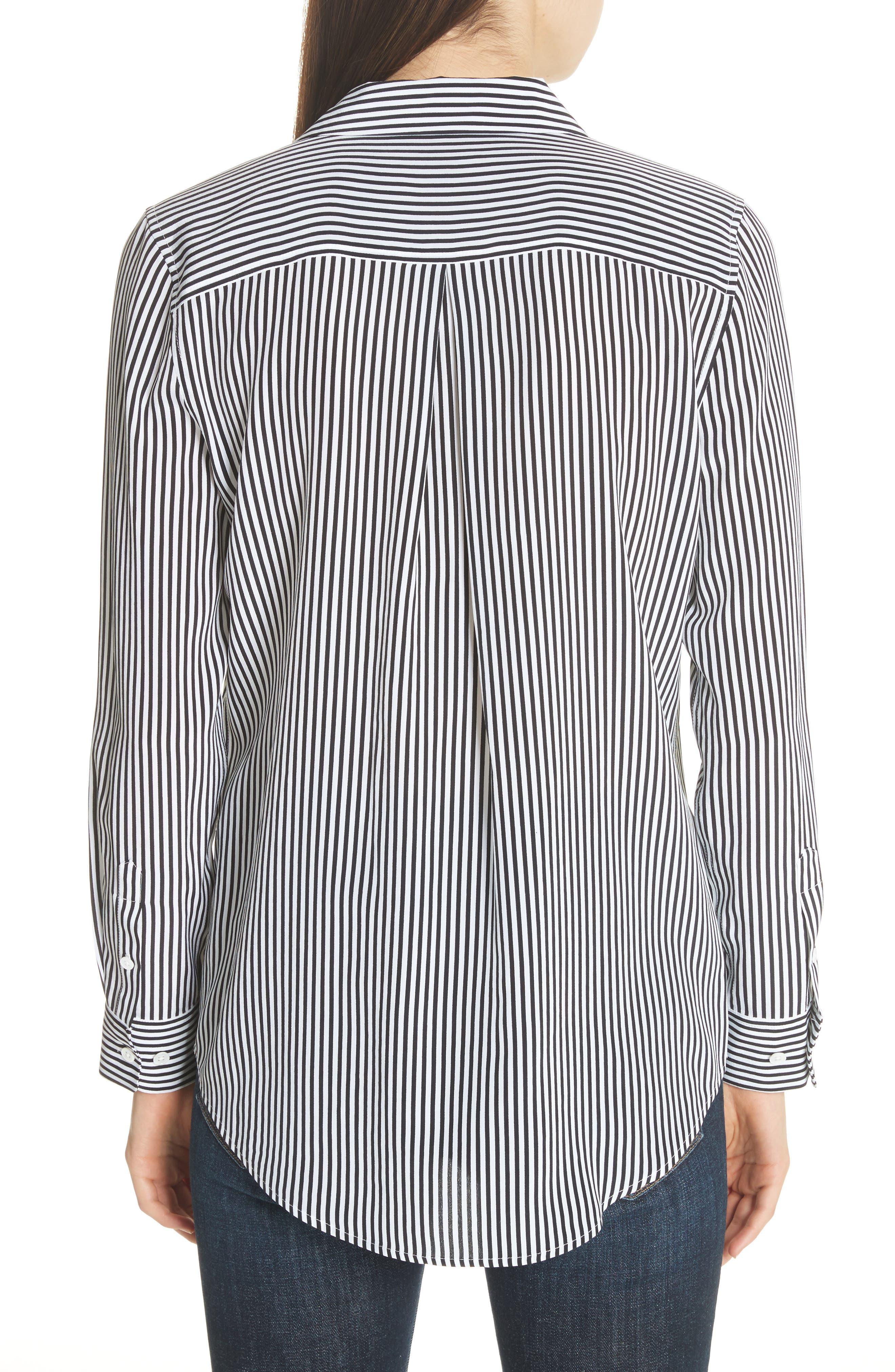 ,                             Essential Stripe Silk Shirt,                             Alternate thumbnail 2, color,                             BRIGHT WHITE - TRUE BLACK