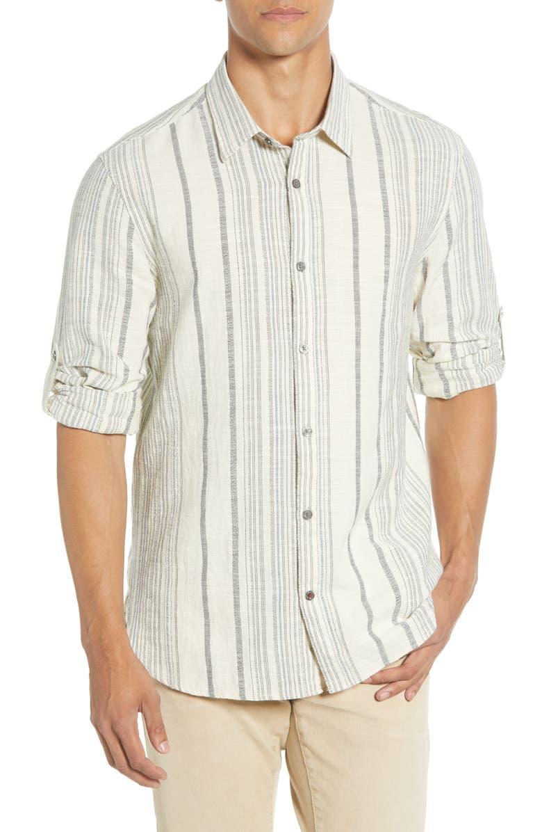 JOHN VARVATOS STAR USA Renold Regular Fit Roll Sleeve Button-Up Chambray Shirt, Main, color, STREAM BLUE