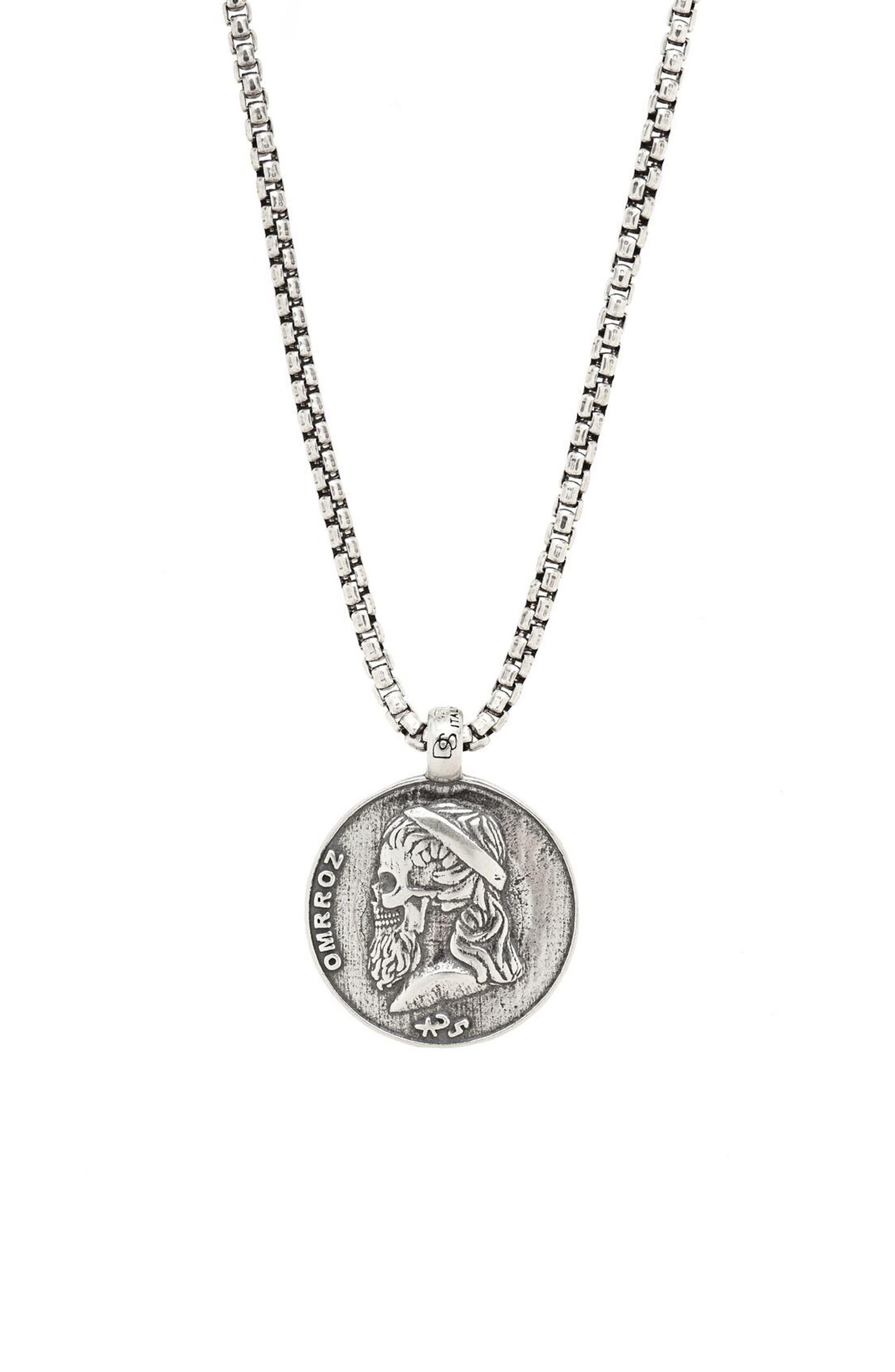 Greek Skull Pendant Necklace