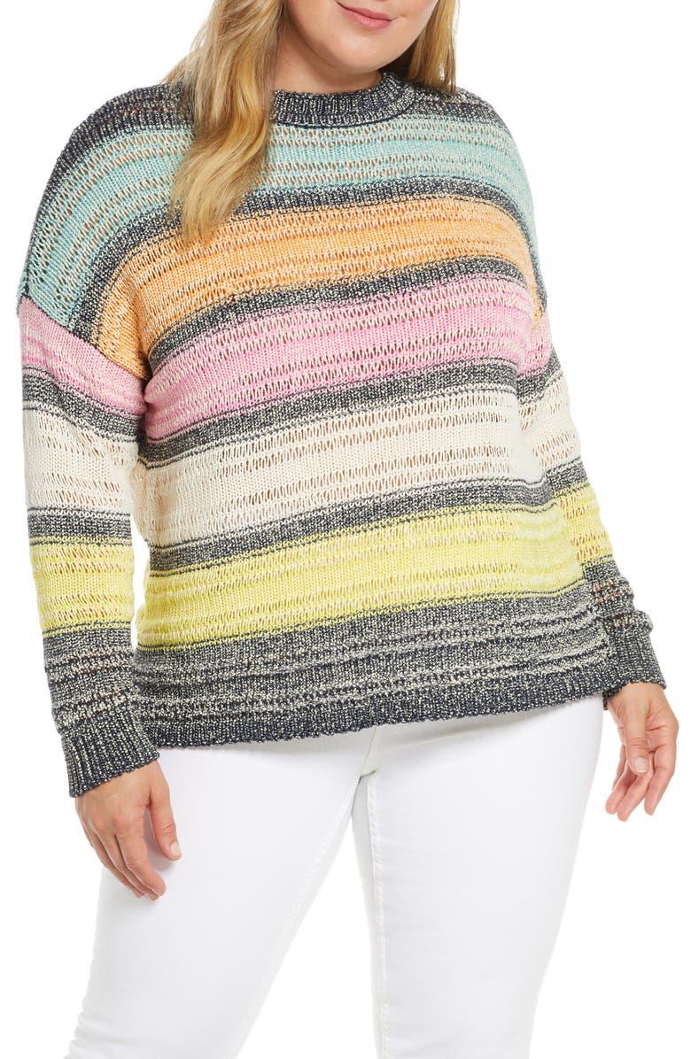 RACHEL RACHEL ROY Kai Stripe Sweater, Main, color, PARADISE PINK COMBO