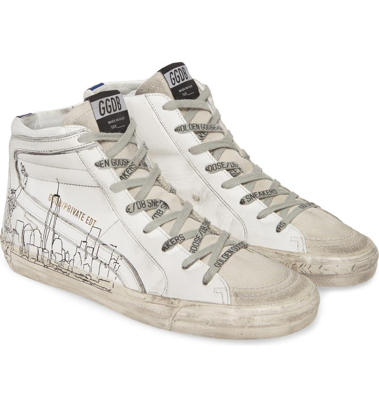 GOLDEN GOOSE Slide NYC Graphic High Top Sneaker, Main, color, WHITE/ NEW YORK SKYLINE