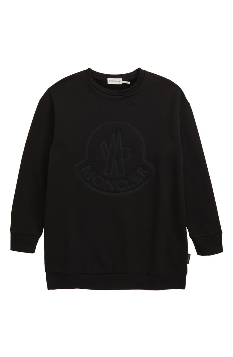 MONCLER Logo Crewneck Sweatshirt, Main, color, BLACK