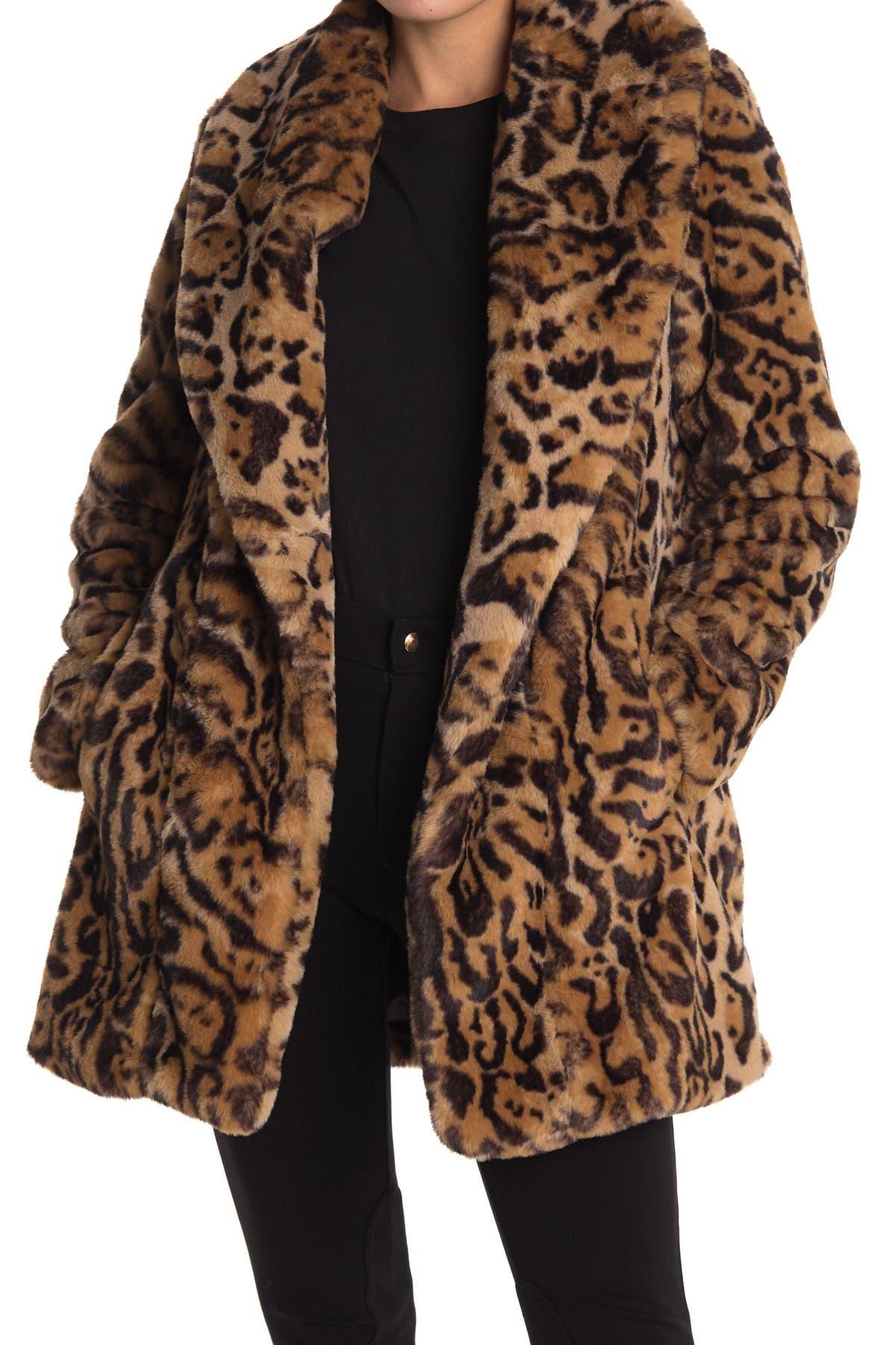 Image of BCBGMAXAZRIA Leopard Print Faux Fur Coat