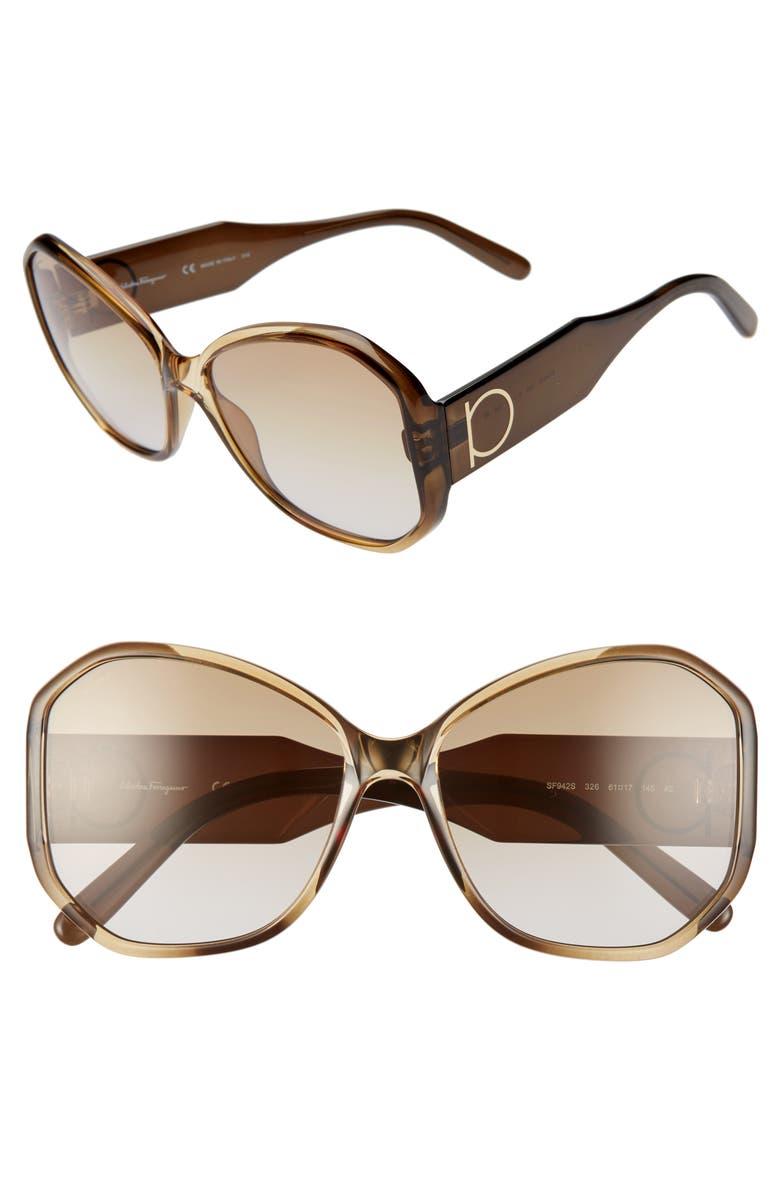 SALVATORE FERRAGAMO Gancio 61mm Butterfly Sunglasses, Main, color, KHAKI BROWN GRADIENT
