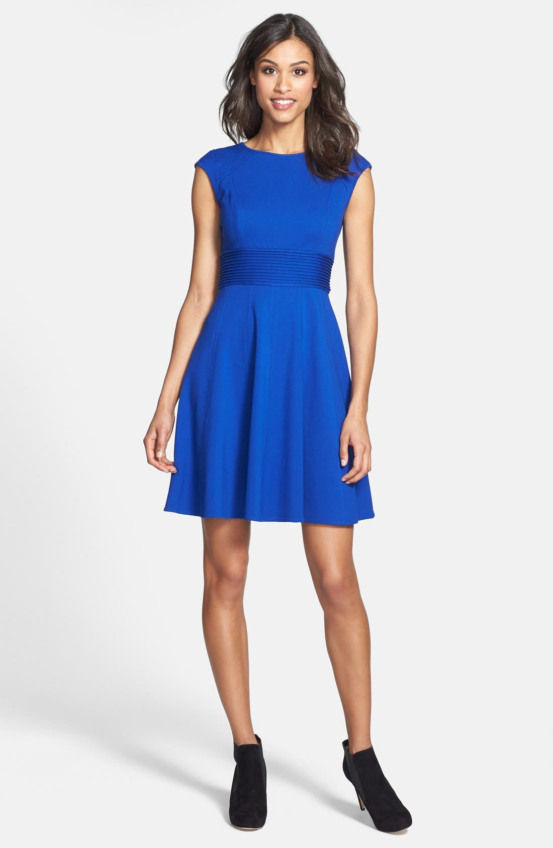 ,                             Pintucked Waist Seamed Ponte Knit Fit & Flare Dress,                             Alternate thumbnail 22, color,                             430