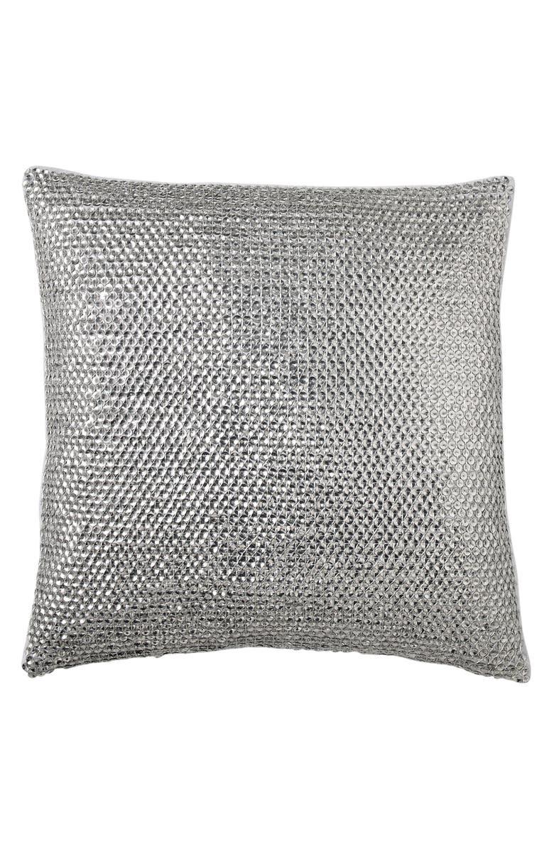 DONNA KARAN NEW YORK Luna Sequin Accent Pillow, Main, color, PLATINUM