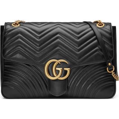 Gucci Gg Large Marmont 2.0 Matelasse Leather Shoulder Bag - Black