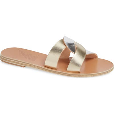 Ancient Greek Sandals Desmos Slide Sandal, Metallic