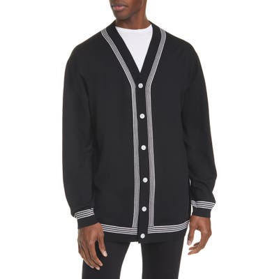 Burberry Barcham Oversize Merino Wool Cardigan, Black