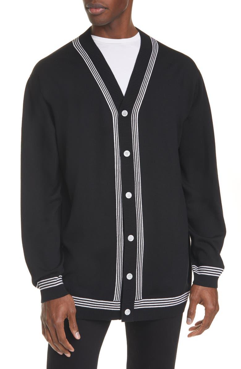 BURBERRY Barcham Oversize Merino Wool Cardigan, Main, color, BLACK