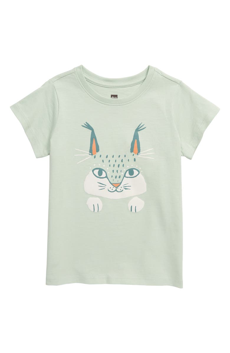 TEA COLLECTION Here Lynxy Lynxy Graphic Tee, Main, color, SEAFOAM