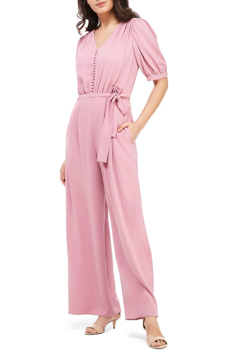 Gal Meets Glam Gabriella Button Bodice Jumpsuit