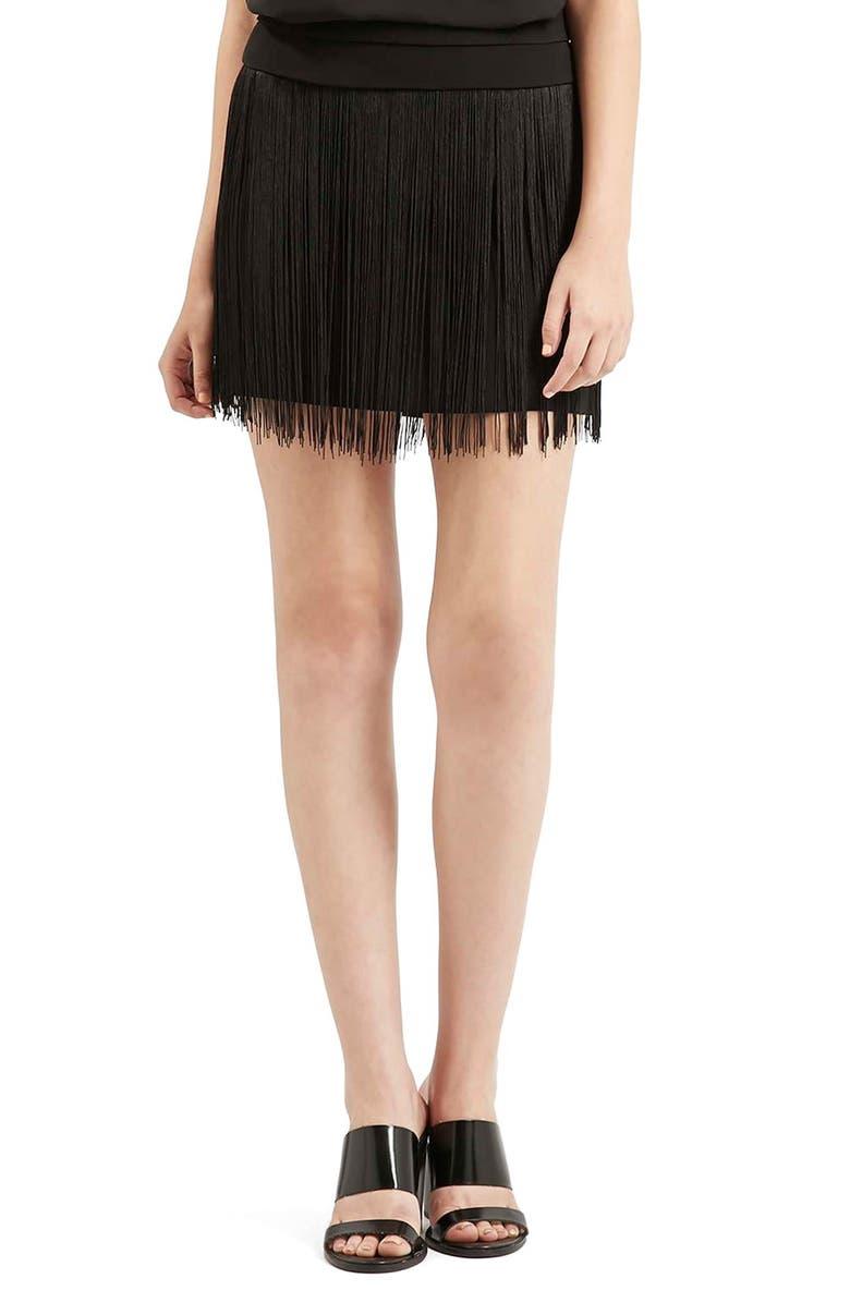 TOPSHOP Fringe Miniskirt, Main, color, Black
