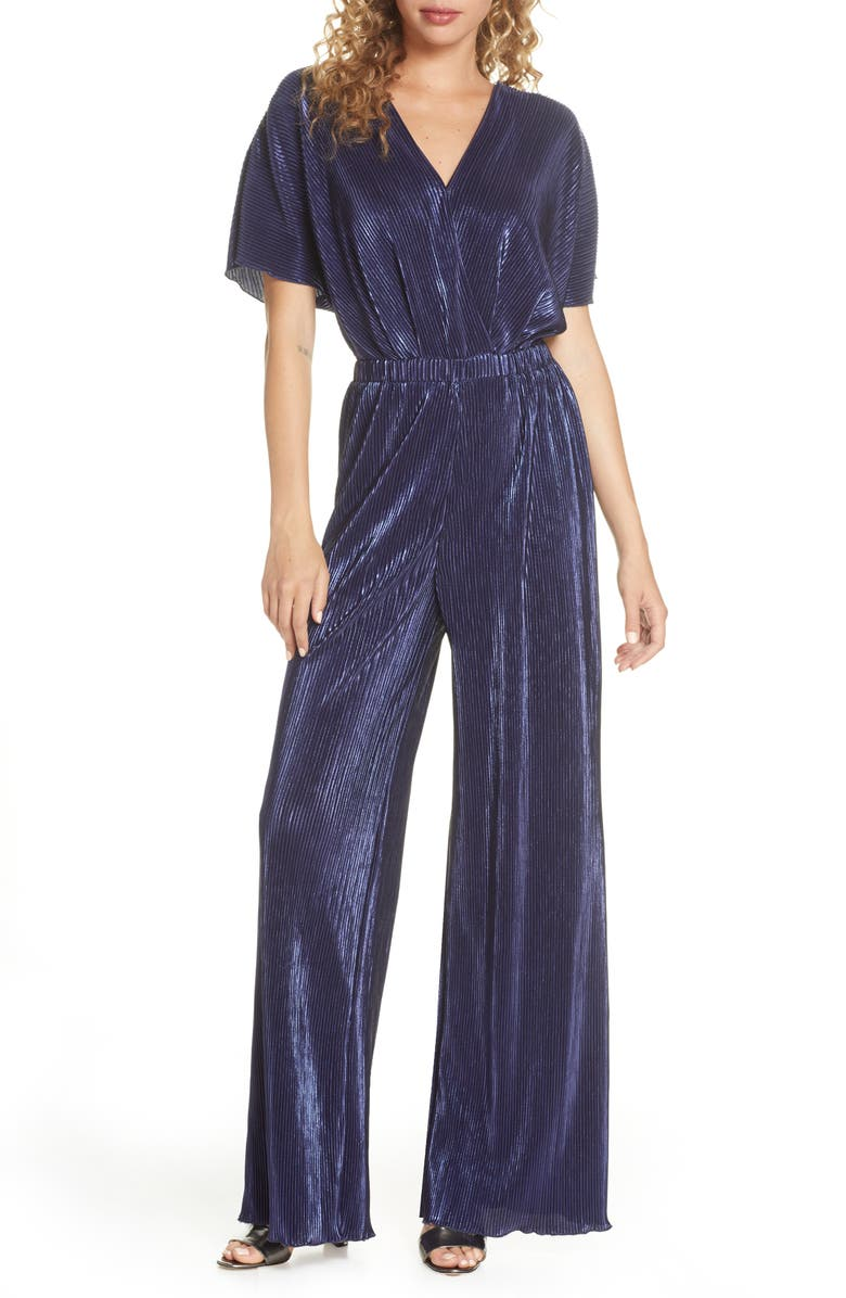 CHARLES HENRY Crossover Jumpsuit, Main, color, NAVY
