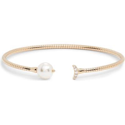 Nadri Imitation Pearl & Cubic Zirconia Flexi Cuff Bracelet