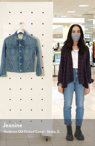 Janelle Raw Cut Slim Denim Jacket, sales video thumbnail