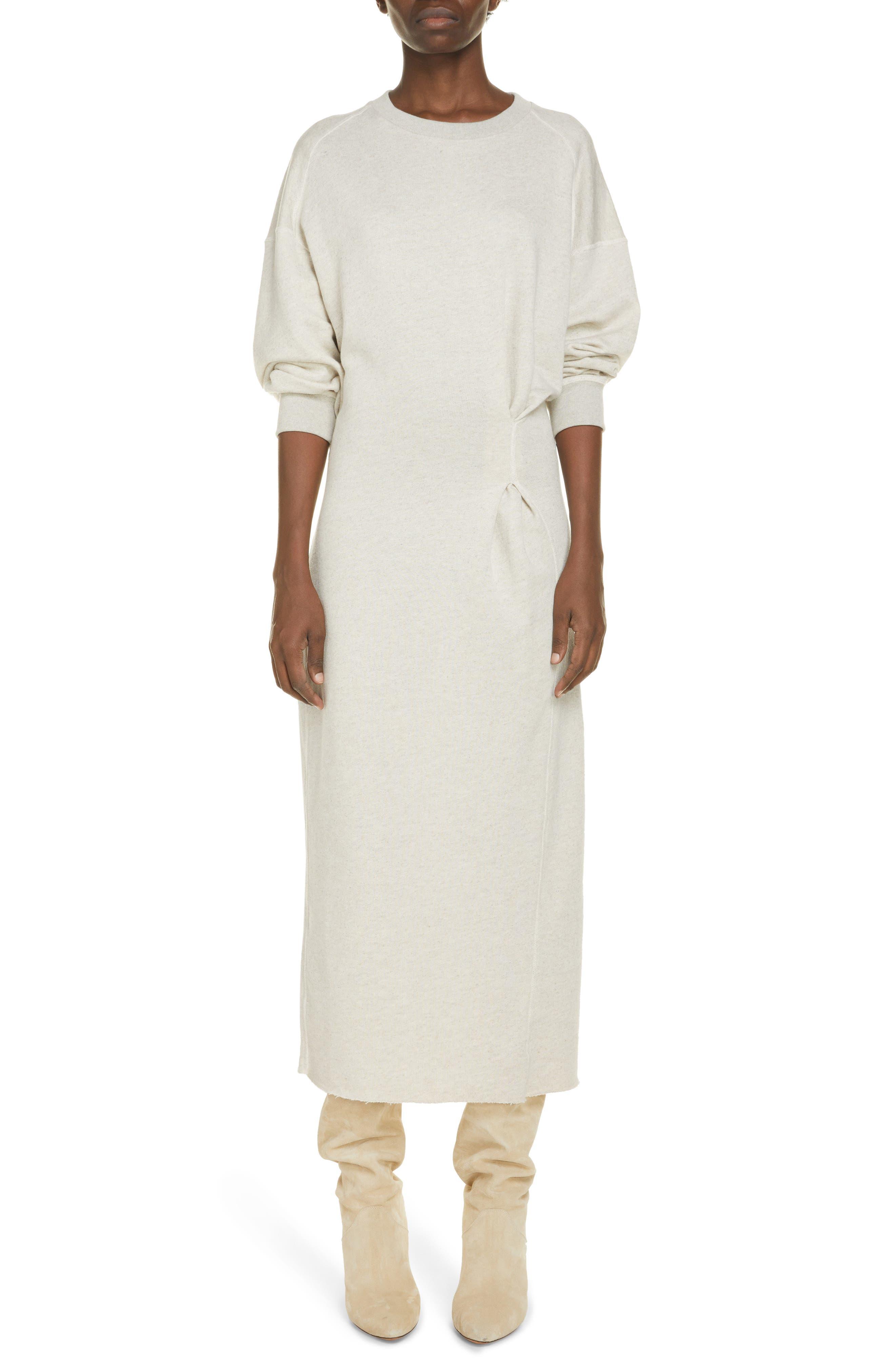 Women's Isabel Marant Etoile Meg Long Sleeve Recycled Cotton & Linen Blend Midi Dress